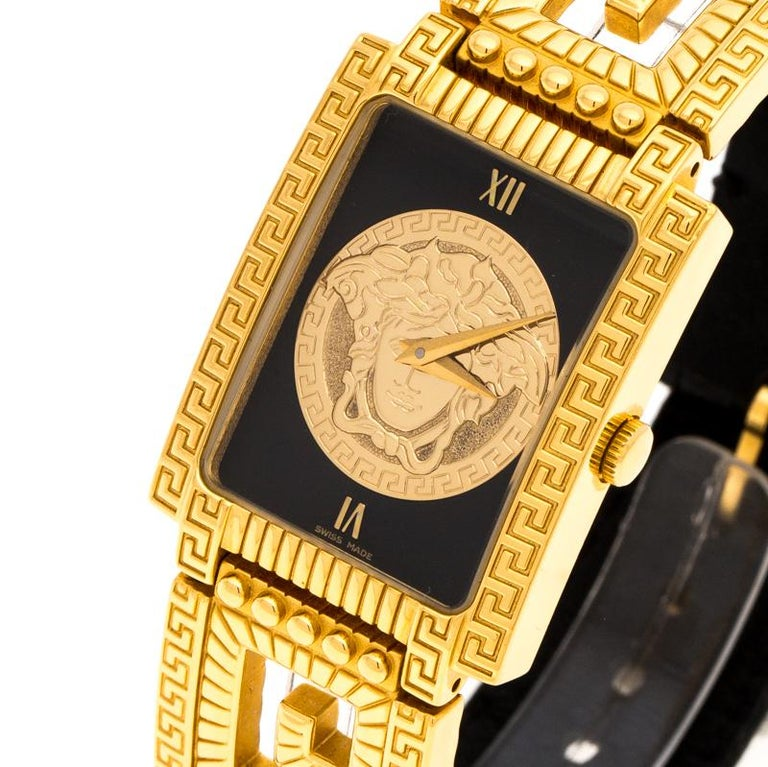 Versace Black 18K Yellow Gold Plated Stainless Steel Signature Wristwatch 25 mm In Good Condition For Sale In Dubai, Al Qouz 2