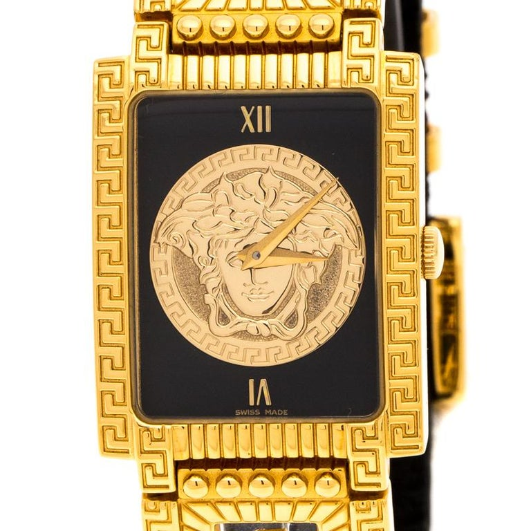 Women's Versace Black 18K Yellow Gold Plated Stainless Steel Signature Wristwatch 25 mm For Sale