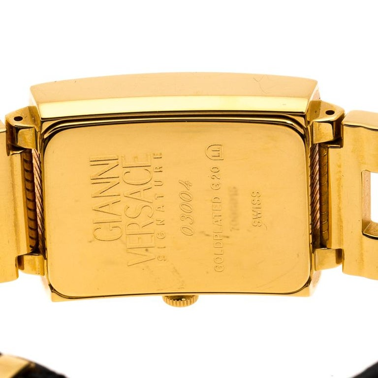 Versace Black 18K Yellow Gold Plated Stainless Steel Signature Wristwatch 25 mm For Sale 1