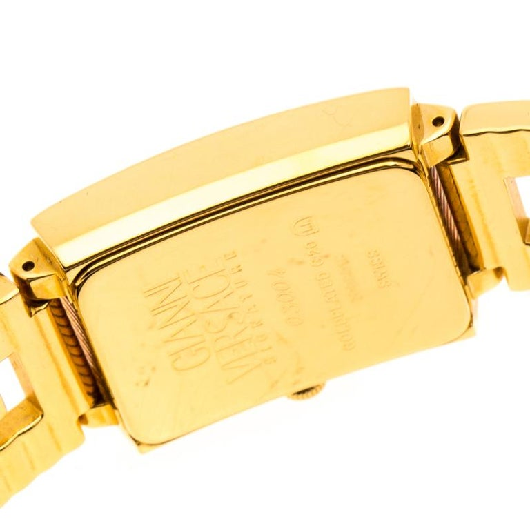 Versace Black 18K Yellow Gold Plated Stainless Steel Signature Wristwatch 25 mm For Sale 2
