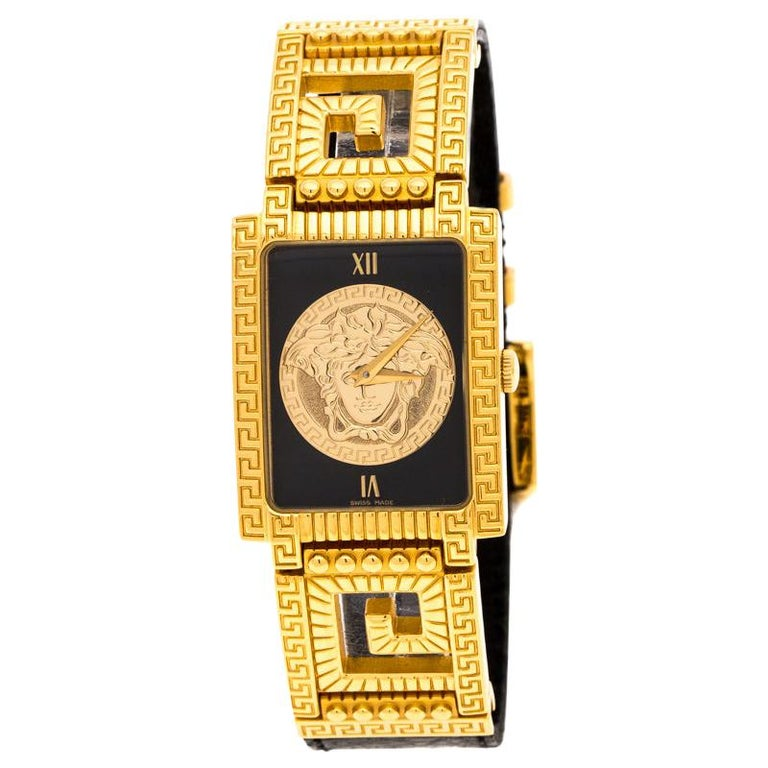 Versace Black 18K Yellow Gold Plated Stainless Steel Signature Wristwatch 25 mm For Sale