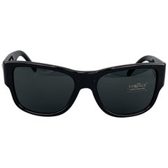 VERSACE Black Acetate Gold tone Medusa Arm Sunglasses