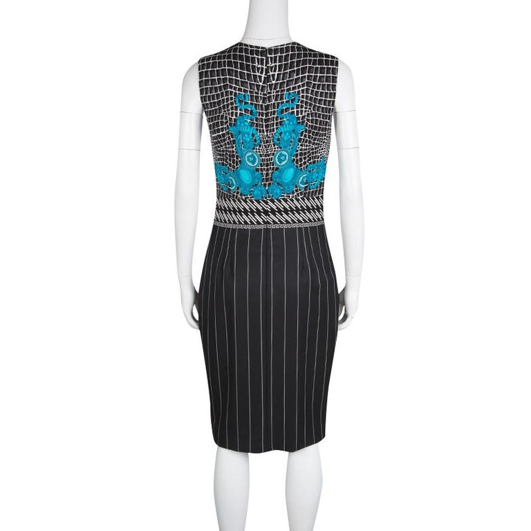 d743b253 Versace Black and Blue Medusa Print Pinstriped Sleeveless Dress M