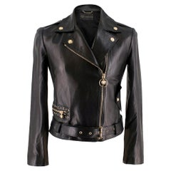 Versace Black Asymmetric Leather Jacket	SIZE 42