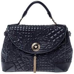 Versace Black Barocco Leather Altea Top Handle Bag