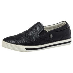 Versace Black Baroque Embroidered Leather Slip On Sneakers Size 44