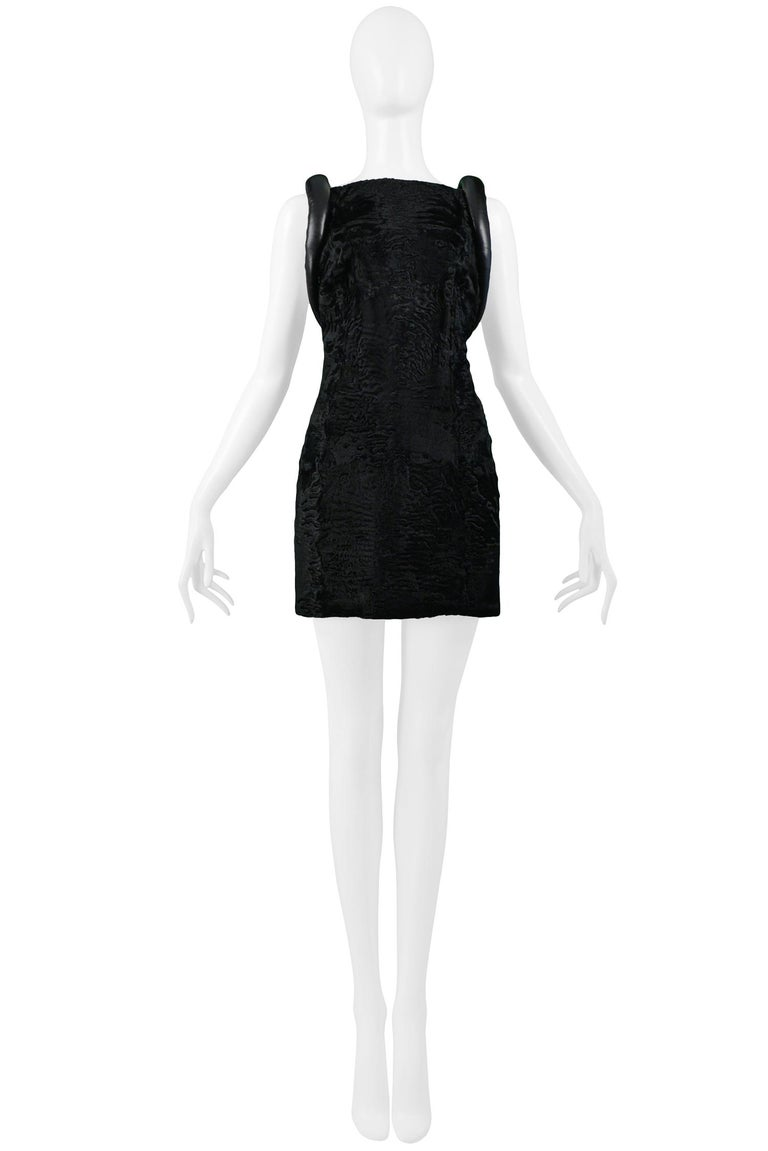 Versace Black Broadtail & Leather Couture Mini Dress 1997 In Excellent Condition For Sale In Los Angeles, CA