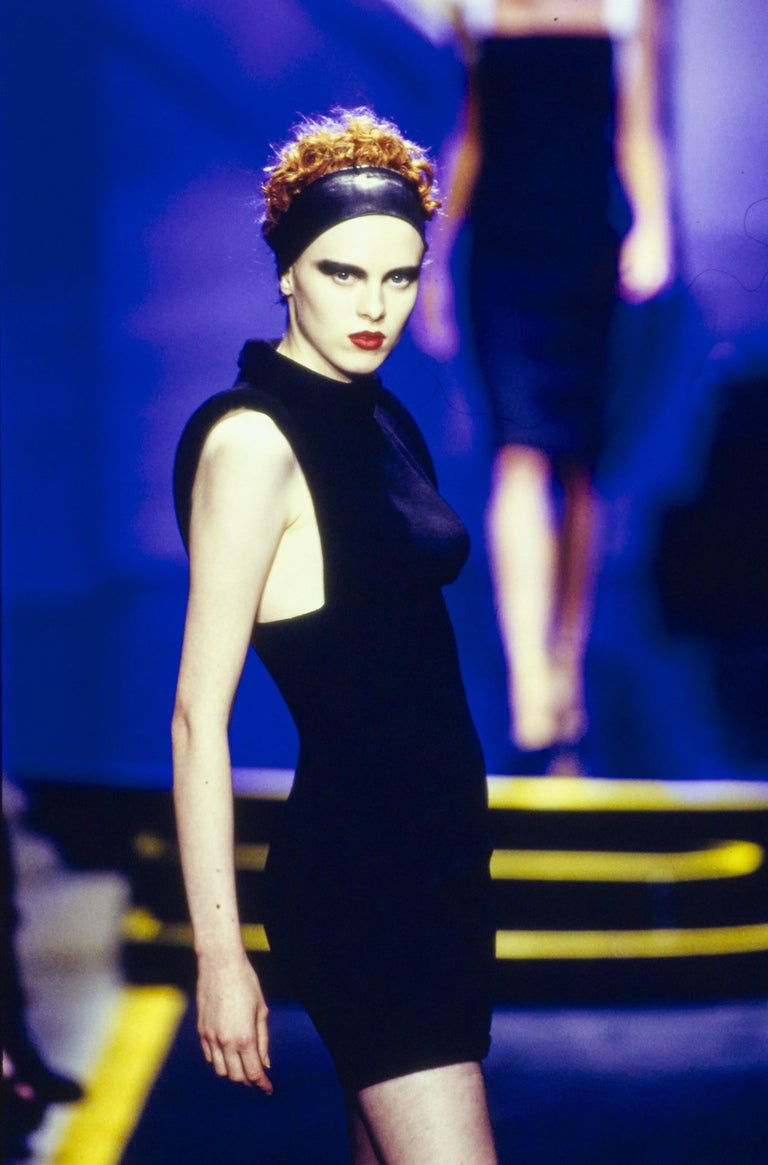 Versace Black Broadtail & Leather Couture Mini Dress 1997 For Sale 1
