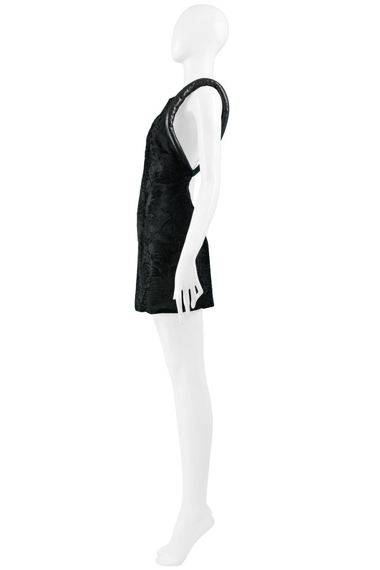 Versace Black Broadtail & Leather Couture Mini Dress 1997 For Sale 2
