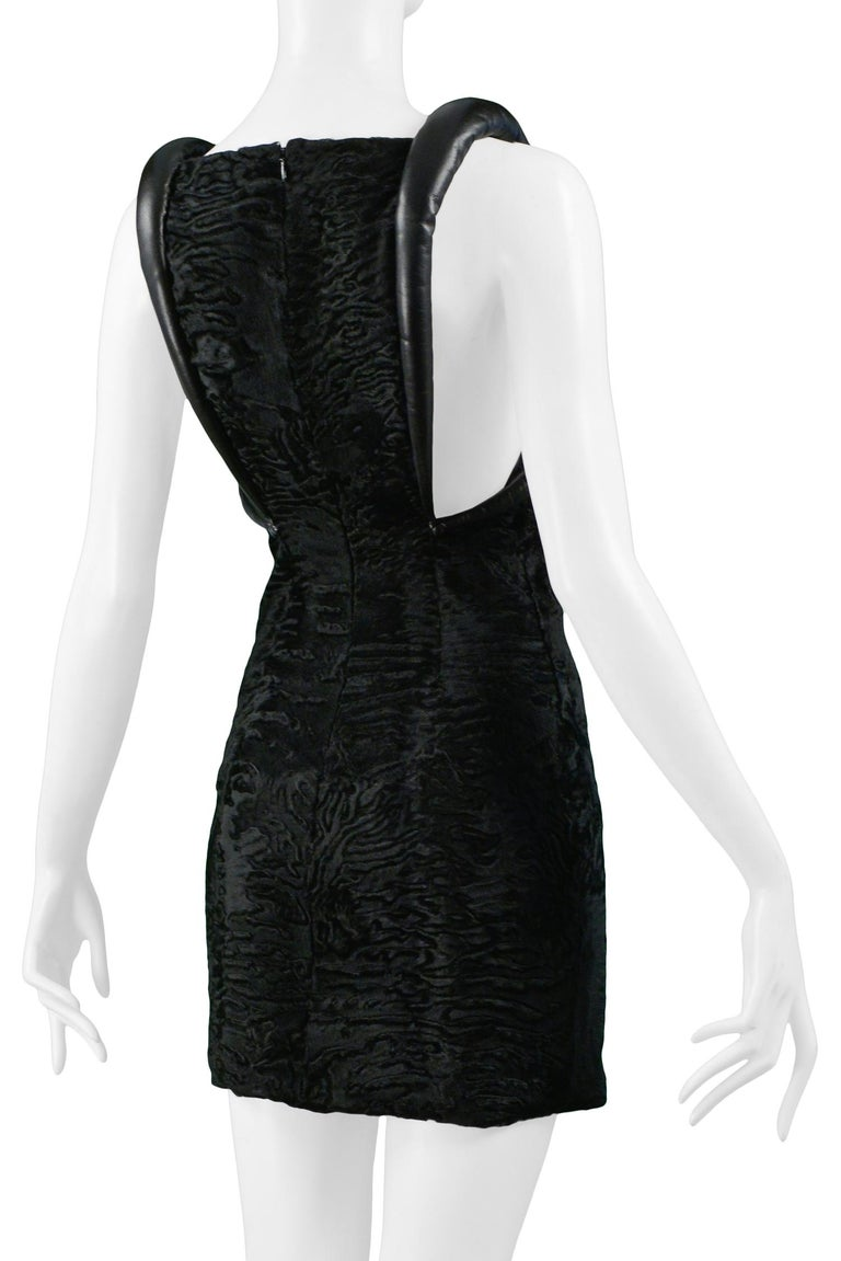 Versace Black Broadtail & Leather Couture Mini Dress 1997 For Sale 4