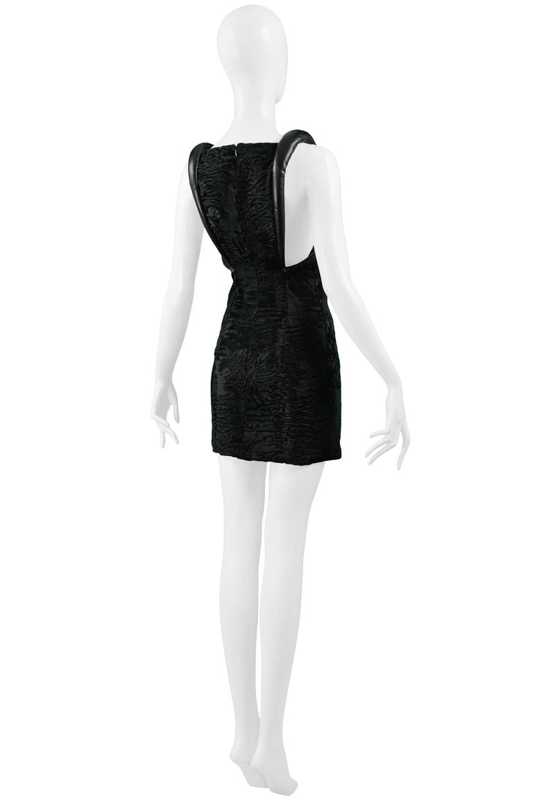 Versace Black Broadtail & Leather Couture Mini Dress 1997 For Sale 5