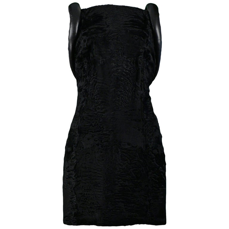 Versace Black Broadtail & Leather Couture Mini Dress 1997 For Sale