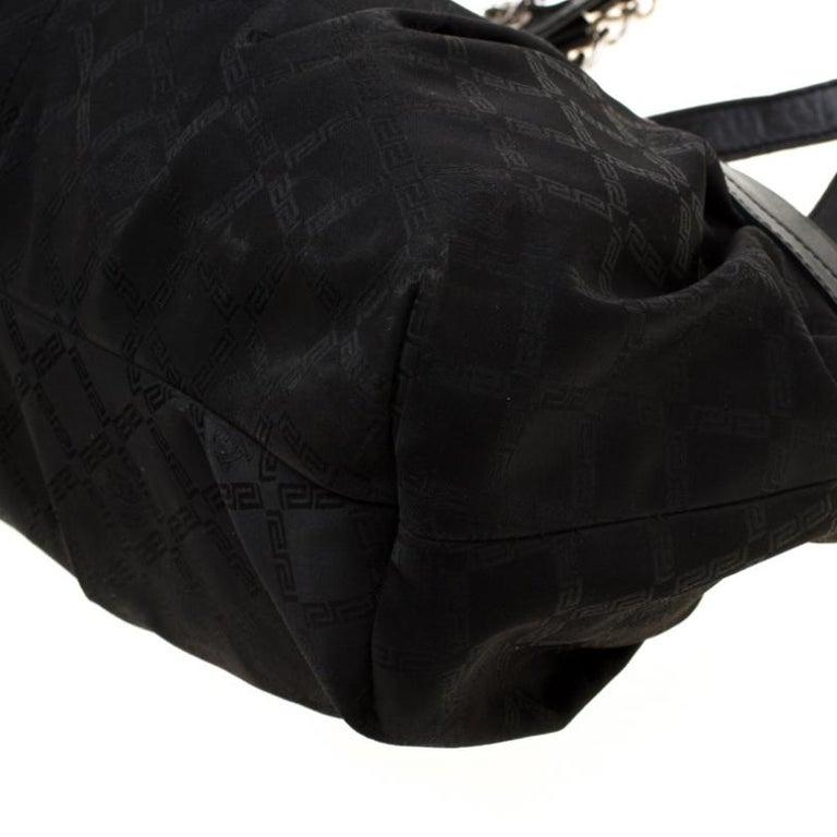 Versace Black Canvas and Leather Shoulder Bag For Sale 6