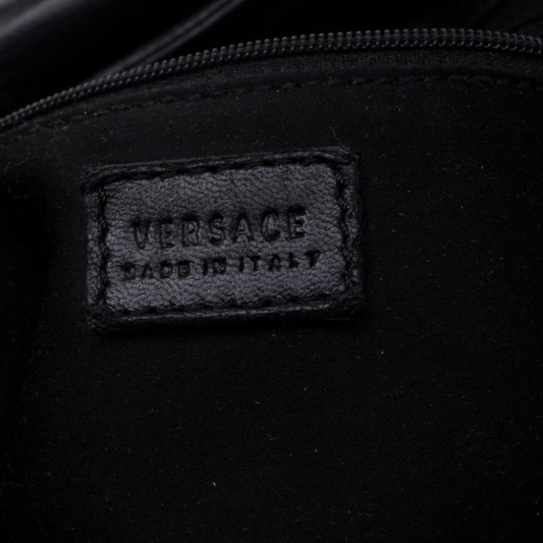 Versace Black Canvas and Leather Shoulder Bag For Sale 3
