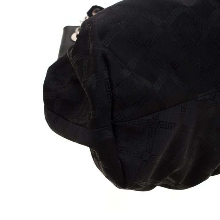Versace Black Canvas and Leather Shoulder Bag For Sale 4