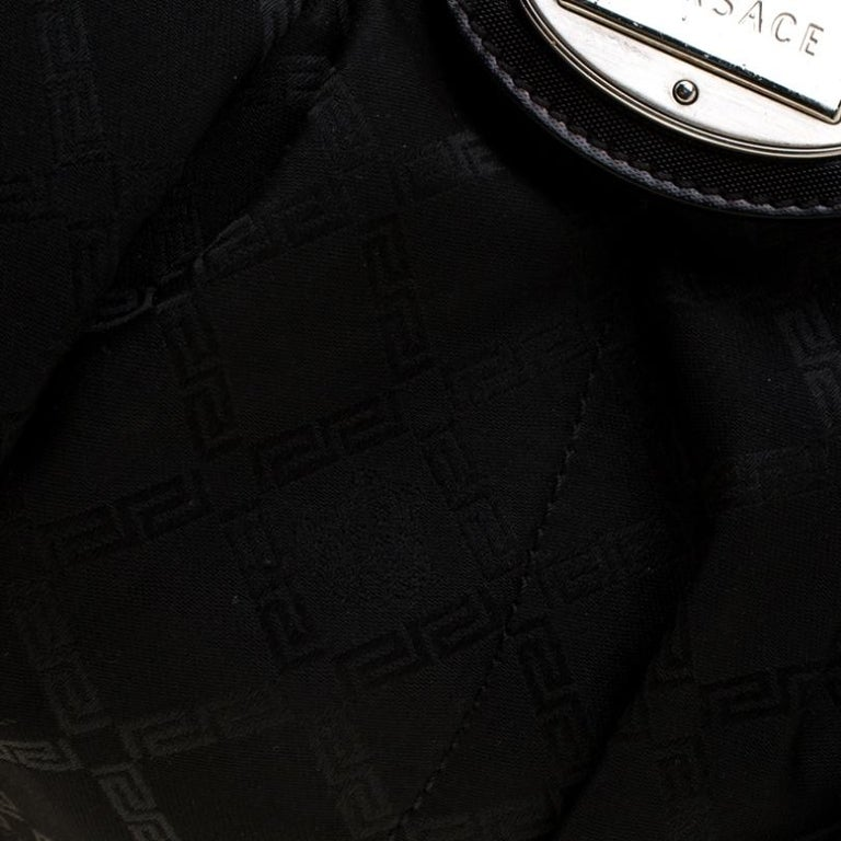 Versace Black Canvas and Leather Shoulder Bag For Sale 5