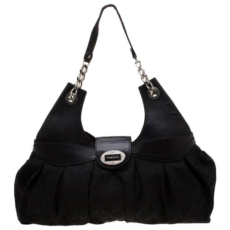 Versace Black Canvas and Leather Shoulder Bag For Sale