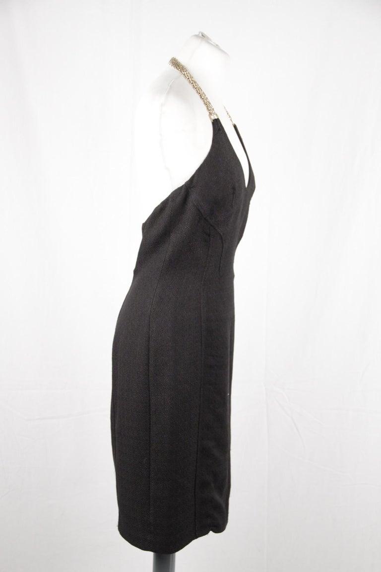 Women's Versace Black Cotton Blend Halterneck dress with chain Strap Size 42 For Sale