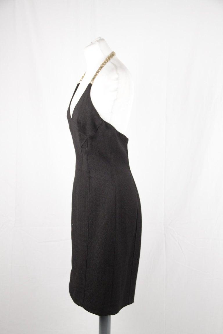 Versace Black Cotton Blend Halterneck dress with chain Strap Size 42 For Sale 2