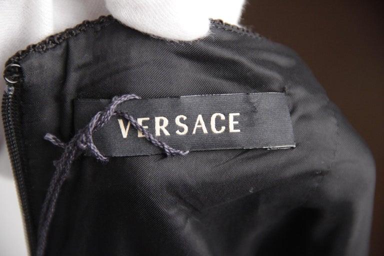 Versace Black Cotton Blend Halterneck dress with chain Strap Size 42 For Sale 3