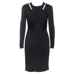 Versace Black Crepe Cut Out Detail Sheath Dress S