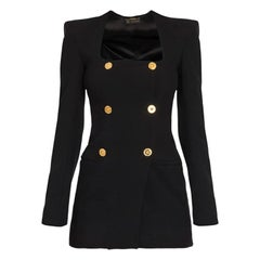 Versace Black Double Breasted Blazer Jacket with Shoulder Pads Size 38