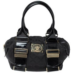 Versace Black Fabric and Patent Leather Medusa Logo Tote