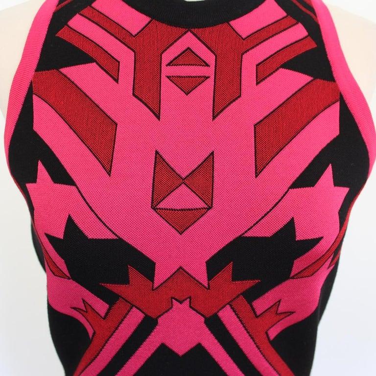 Versace Black & Fuchsia Dress IT 40 In Excellent Condition For Sale In Gazzaniga (BG), IT
