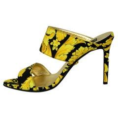 Versace Black/Gold Grosgrain Barocco Print Heeled Sandals sz 39.5  rt. $825