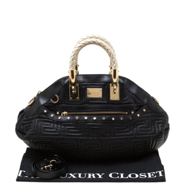 Versace Black/Gold Quilted Leather Satchel For Sale 6