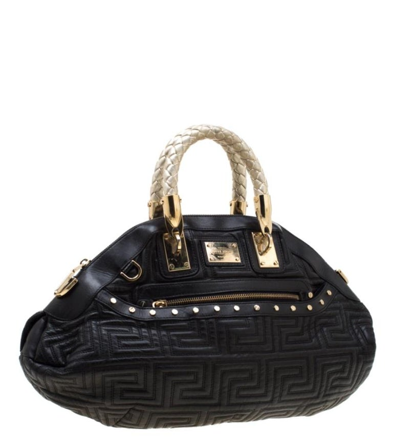 Women's Versace Black/Gold Quilted Leather Satchel For Sale