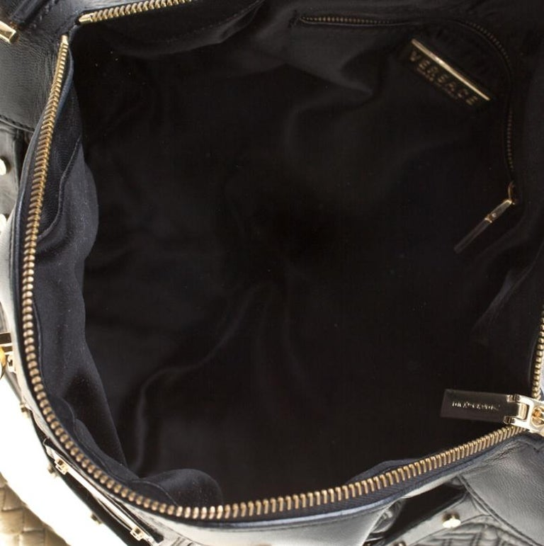 Versace Black/Gold Quilted Leather Satchel For Sale 2