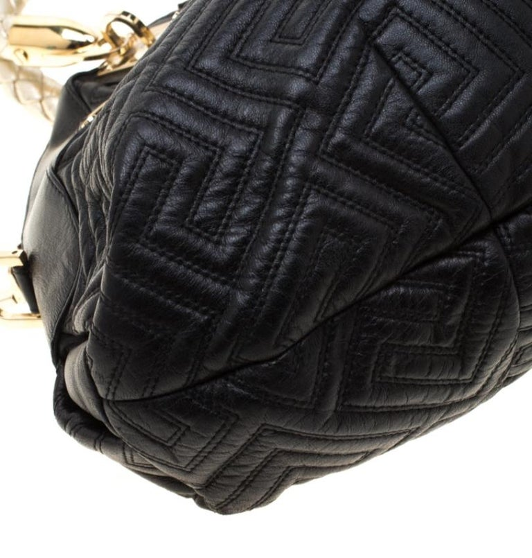 Versace Black/Gold Quilted Leather Satchel For Sale 5