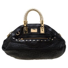 Versace Black/Gold Quilted Leather Satchel