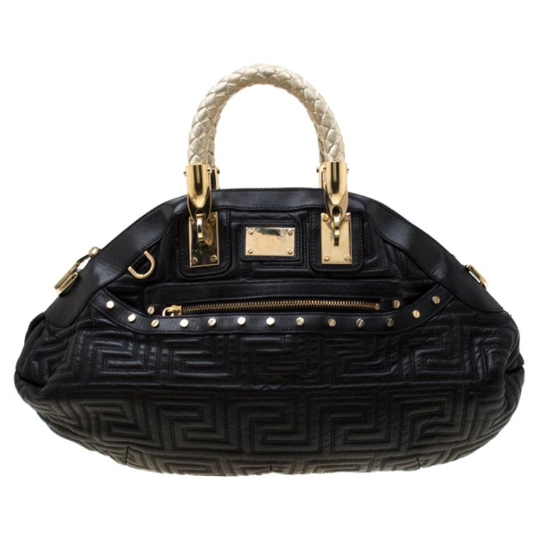 Versace Black/Gold Quilted Leather Satchel For Sale