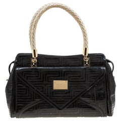 Versace Black/Gold Quilted Patent Leather Satchel