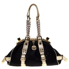 Versace Black/Gold Signature Fabric and Leather Madonna Satchel