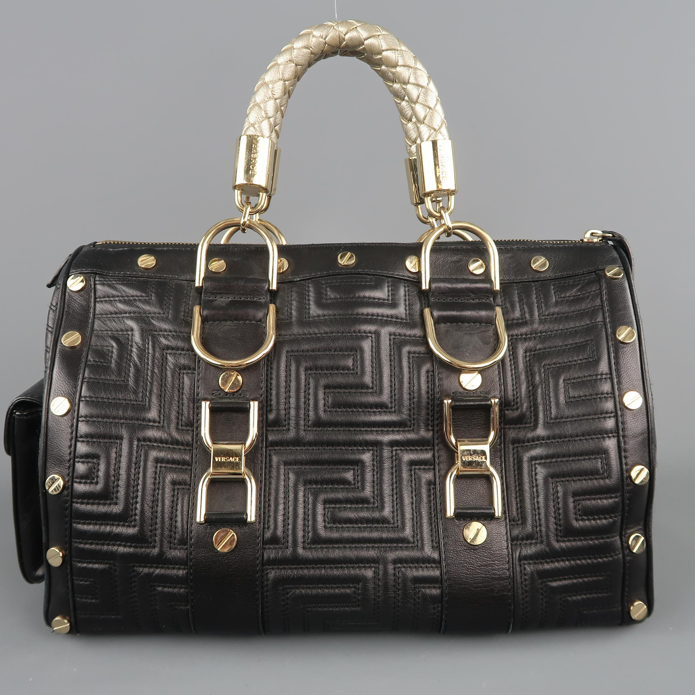 64324fed1204 VERSACE Black and Gold Studded Leather Greca Quilted Tote Handbag For Sale  at 1stdibs