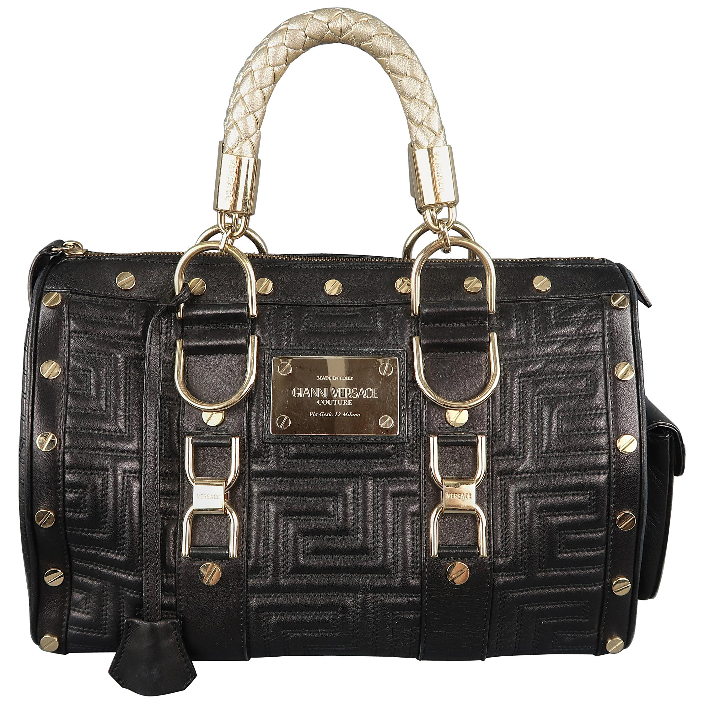 71e25fcc59 VERSACE Black and Gold Studded Leather Greca Quilted Tote Handbag For Sale  at 1stdibs