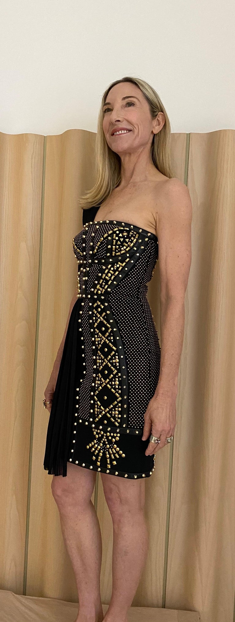 Sexy Grecian Versace Black Silk dress with Gold studs. Perfect for holiday cocktail party. Fit size 2/4