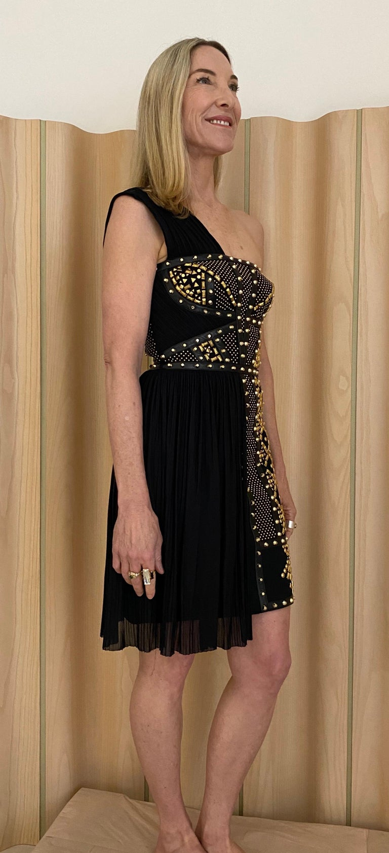 Versace Black Gold Studs Cocktail Dress In Excellent Condition For Sale In Beverly Hills, CA