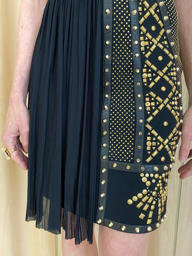 Versace Black Gold Studs Cocktail Dress For Sale 1