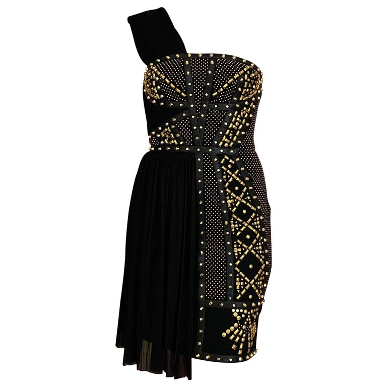 Versace Black Gold Studs Cocktail Dress For Sale