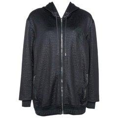 Versace Black Knit Medusa Detail Zip Up Hooded Jacket XL