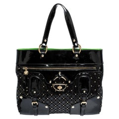Versace Black Lasercut Patent Leather and Suede Studded Tote