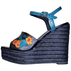 VERSACE BLACK LEATHER and FLORAL EMBROIDERED WEDGE SANDALS 38, 38.5, 39, 40