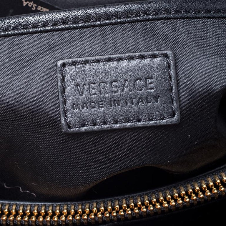 Versace Black Leather and Patent Leather Chain Flap Shoulder Bag For Sale 6