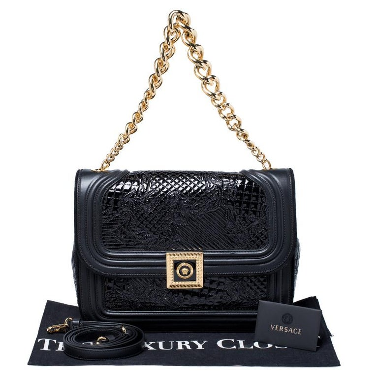 Versace Black Leather and Patent Leather Chain Flap Shoulder Bag For Sale 7