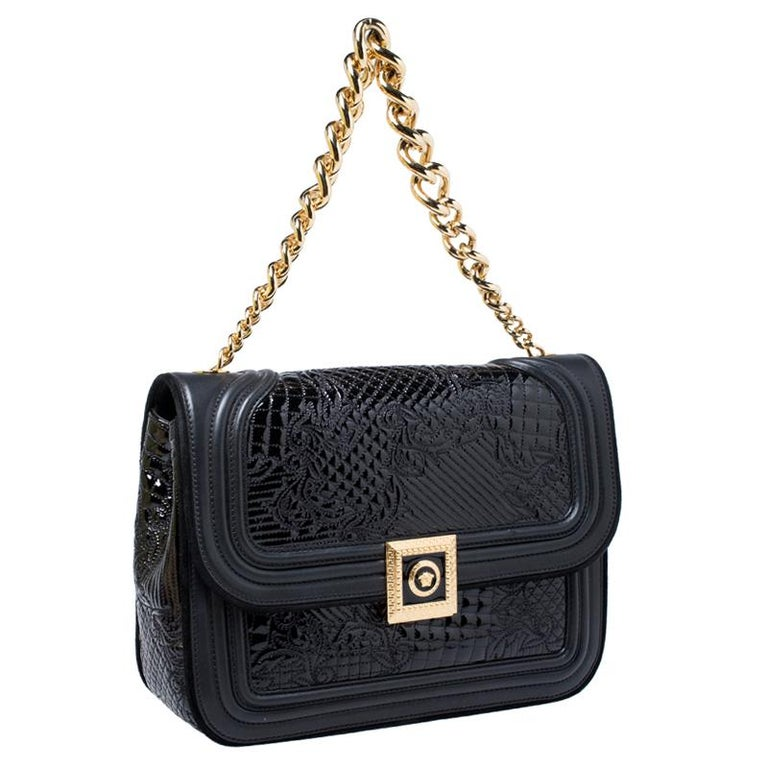 Women's Versace Black Leather and Patent Leather Chain Flap Shoulder Bag For Sale