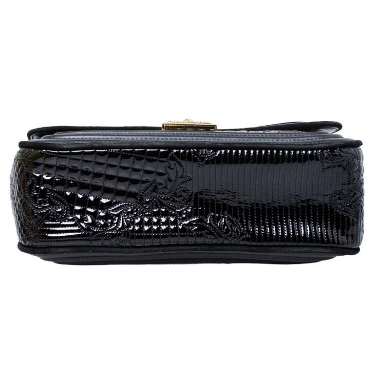 Versace Black Leather and Patent Leather Chain Flap Shoulder Bag For Sale 1